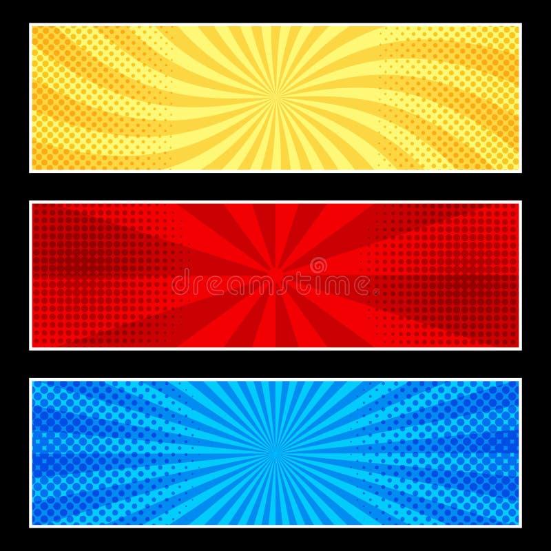 Banderas horizontales cómicas ilustración del vector