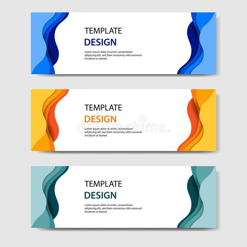 Banderas horizontales con el estilo cortado de papel del extracto 3D Disposición de diseño del vector para la web, bandera, jefe, stock de ilustración