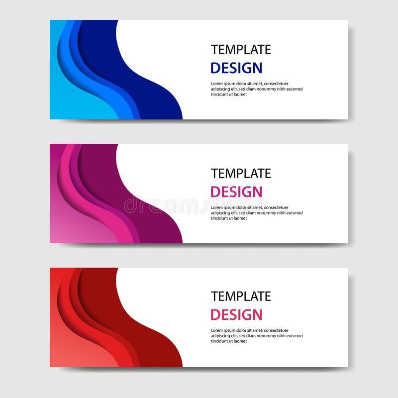Banderas horizontales con el estilo cortado de papel del extracto 3D Disposición de diseño del vector para la web, bandera, jefe, libre illustration