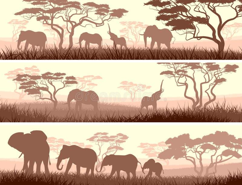Banderas horizontales de animales salvajes en sabana africana. ilustración del vector