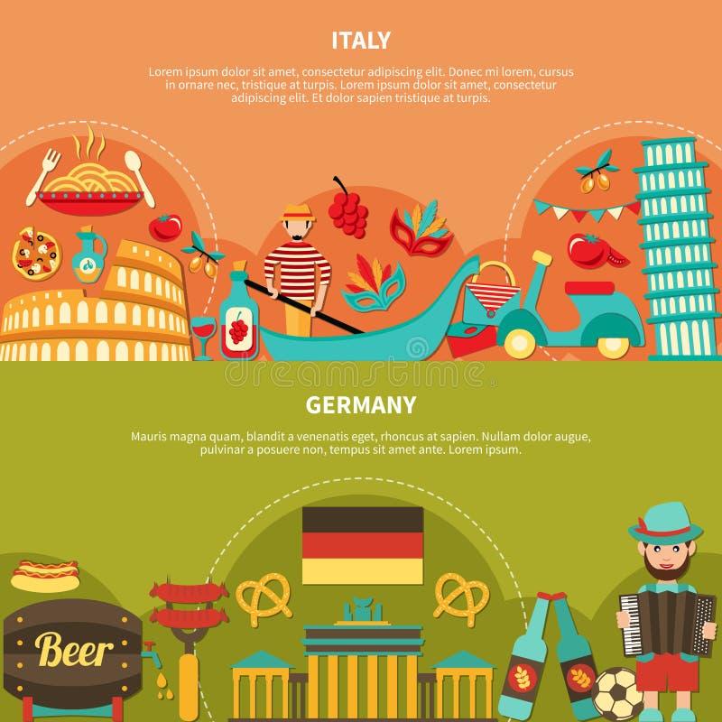 Banderas horizontales de Italia Alemania libre illustration