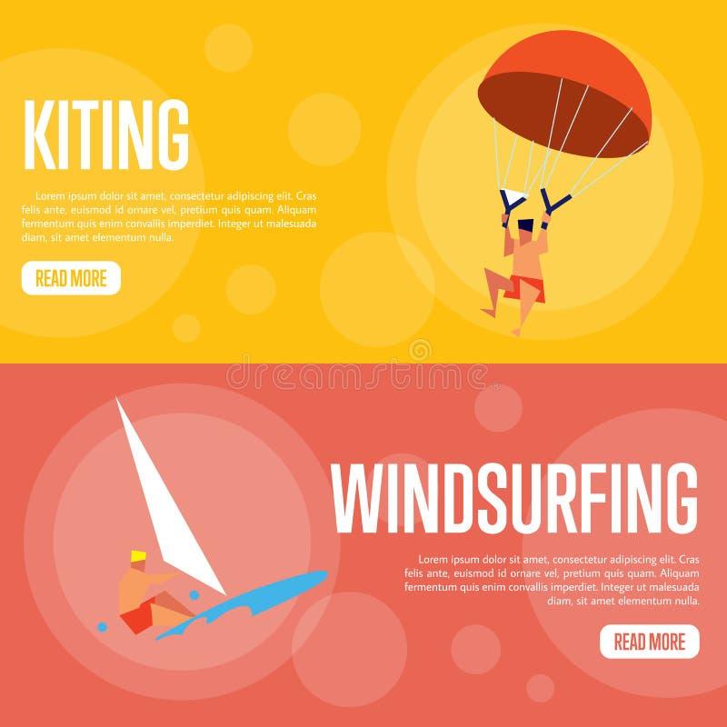 Banderas horizontales de Kiting y del windsurf stock de ilustración