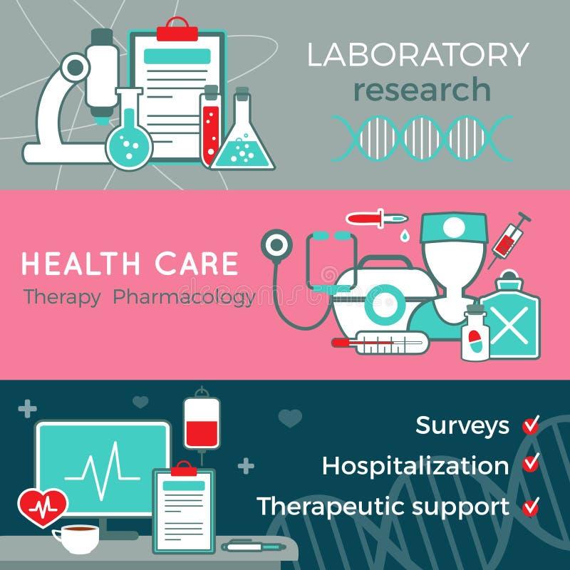 Banderas horizontales de la atención sanitaria plana ilustración del vector