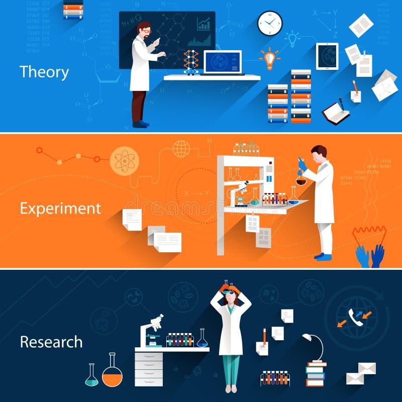 Banderas horizontales de la ciencia stock de ilustración