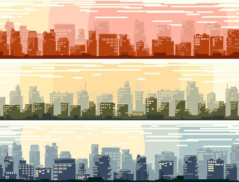 Banderas horizontales de la ciudad grande de la historieta stock de ilustración