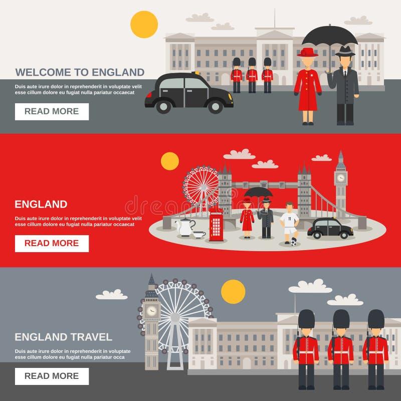 Banderas horizontales de la cultura 3 ingleses fijadas stock de ilustración