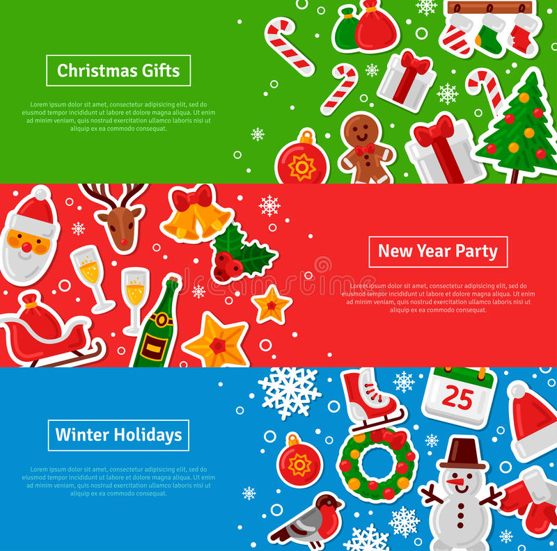 Banderas horizontales de la Feliz Navidad fijadas con los iconos planos de la etiqueta engomada ilustración del vector