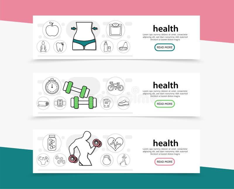 Banderas horizontales de la forma de vida sana ilustración del vector