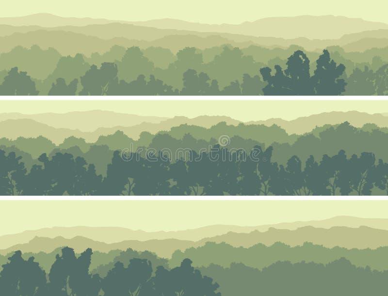 Banderas horizontales de la madera de hojas caducas de las colinas. stock de ilustración