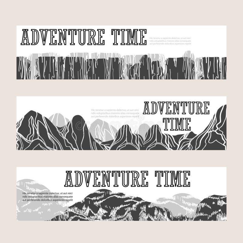 Banderas horizontales de la montaña abstracta fijadas stock de ilustración