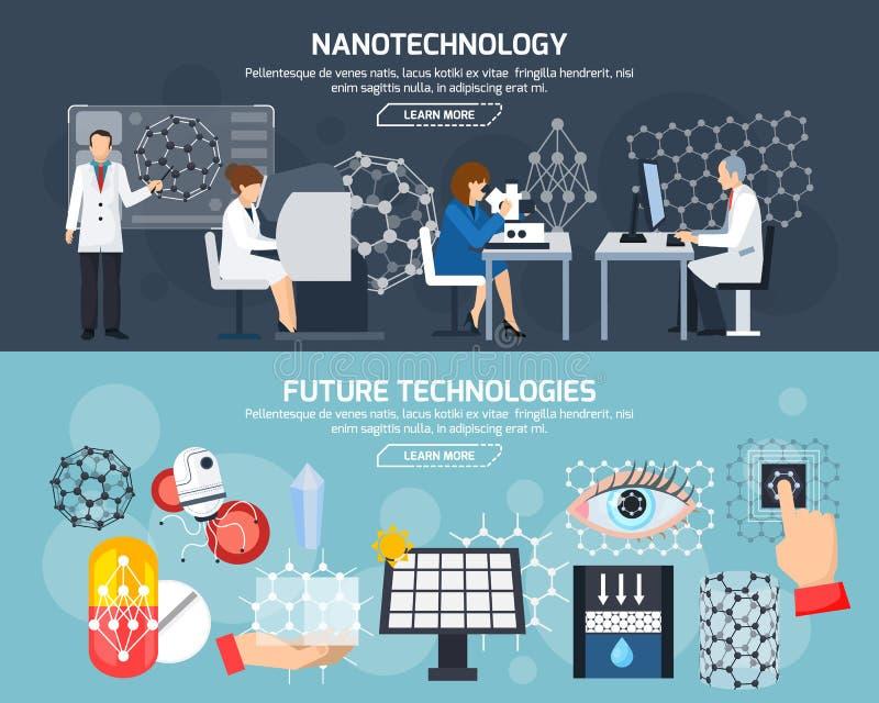 Banderas horizontales de la nanotecnología stock de ilustración