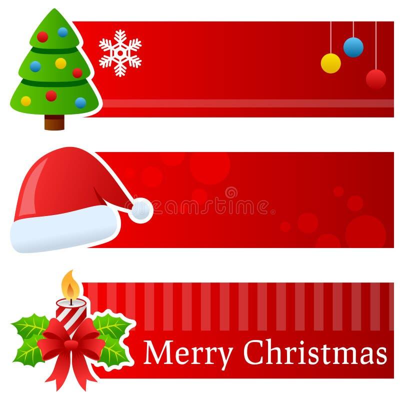 Banderas horizontales de la Navidad stock de ilustración