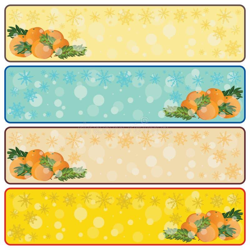 Banderas horizontales de la Navidad con los mandarines y el SP libre illustration