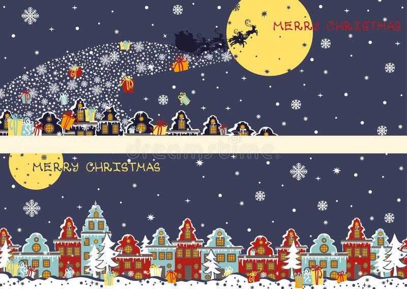 Banderas horizontales de la Navidad Santa Claus que viene a stock de ilustración