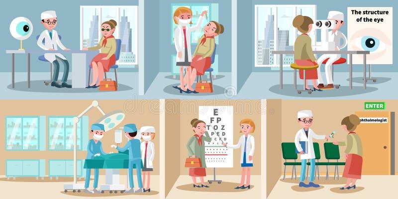 Banderas horizontales de la oftalmología de la atención sanitaria ilustración del vector