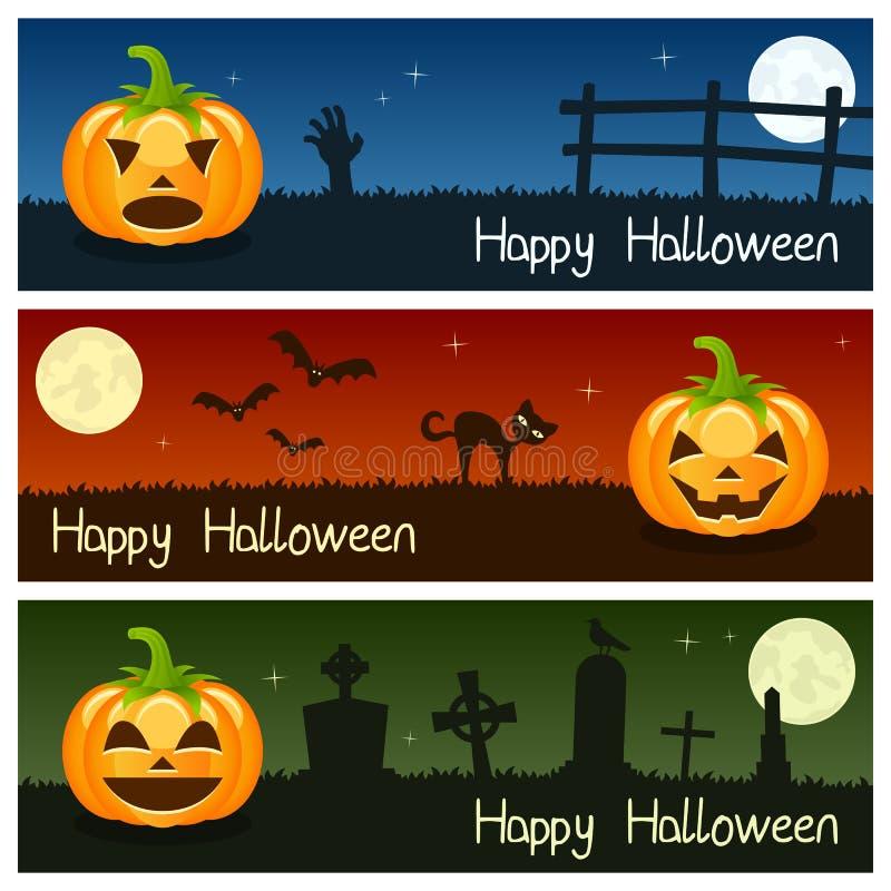 Banderas horizontales de las calabazas de Halloween [1] stock de ilustración