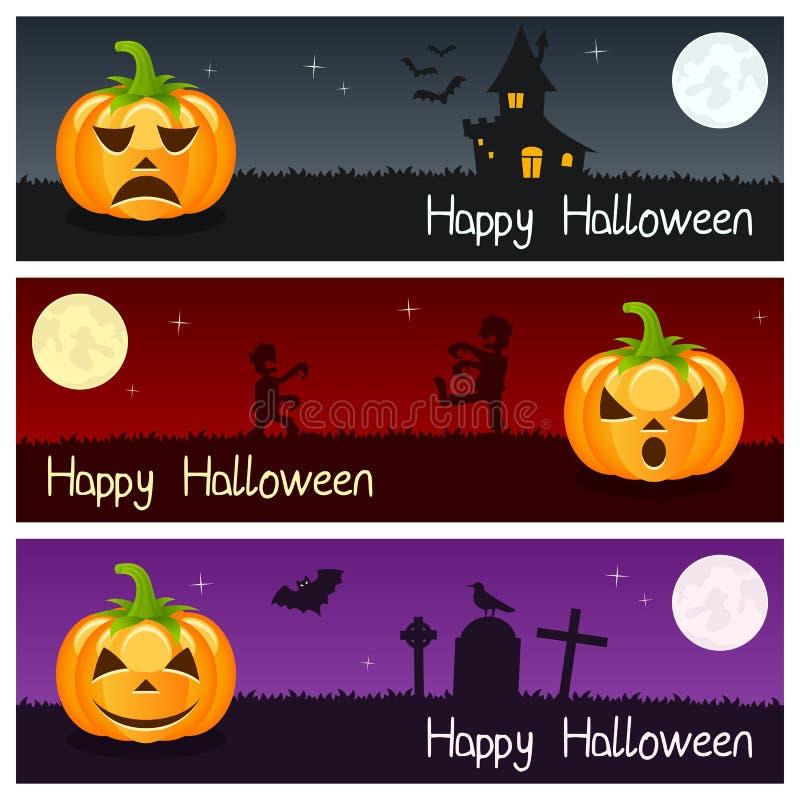 Banderas horizontales de las calabazas de Halloween [2] ilustración del vector