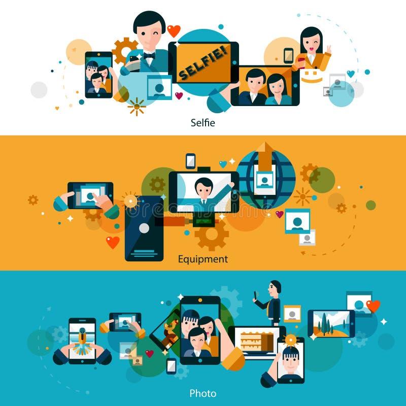 Banderas horizontales de las fotos móviles fijadas ilustración del vector