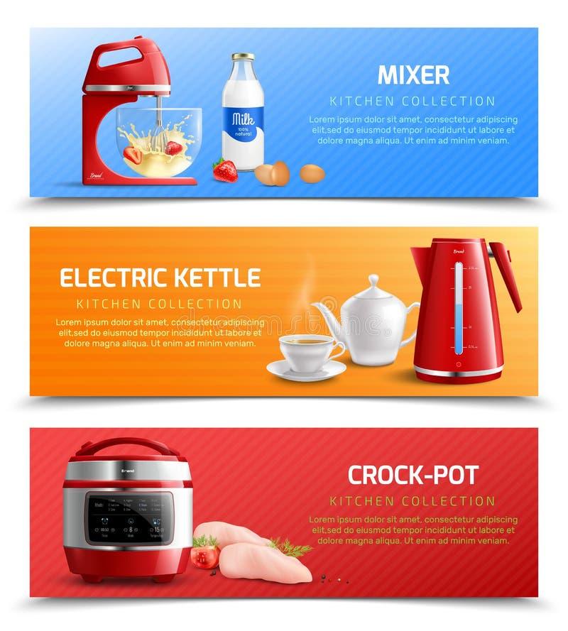 Banderas horizontales de los aparatos electrodomésticos stock de ilustración
