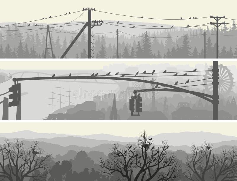 Banderas horizontales de los pájaros de la multitud en árboles y líneas eléctricas. stock de ilustración