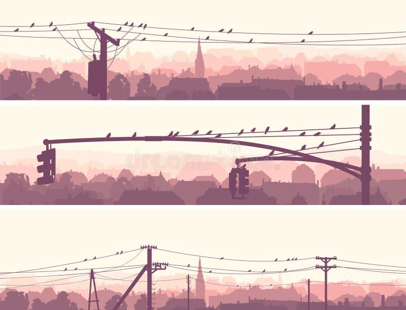 Banderas horizontales de los pájaros de la multitud en líneas eléctricas de la ciudad. libre illustration