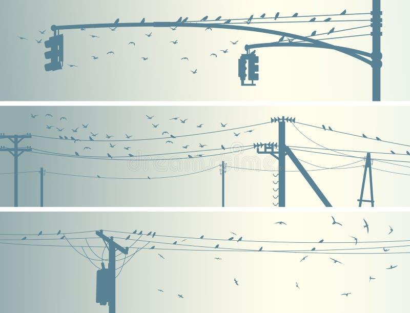 Banderas horizontales de los pájaros de la multitud en líneas eléctricas de la ciudad. stock de ilustración