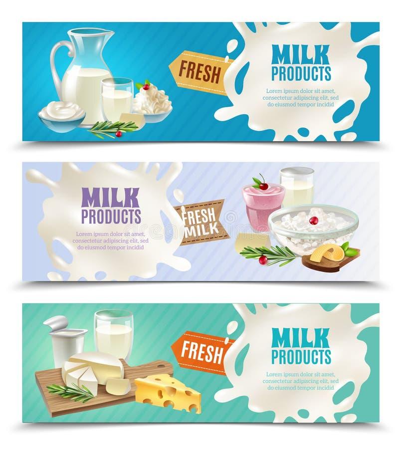 Banderas horizontales de los productos lácteos fijadas ilustración del vector