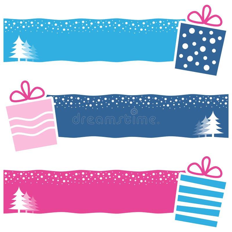 Banderas horizontales de los regalos retros de la Navidad stock de ilustración