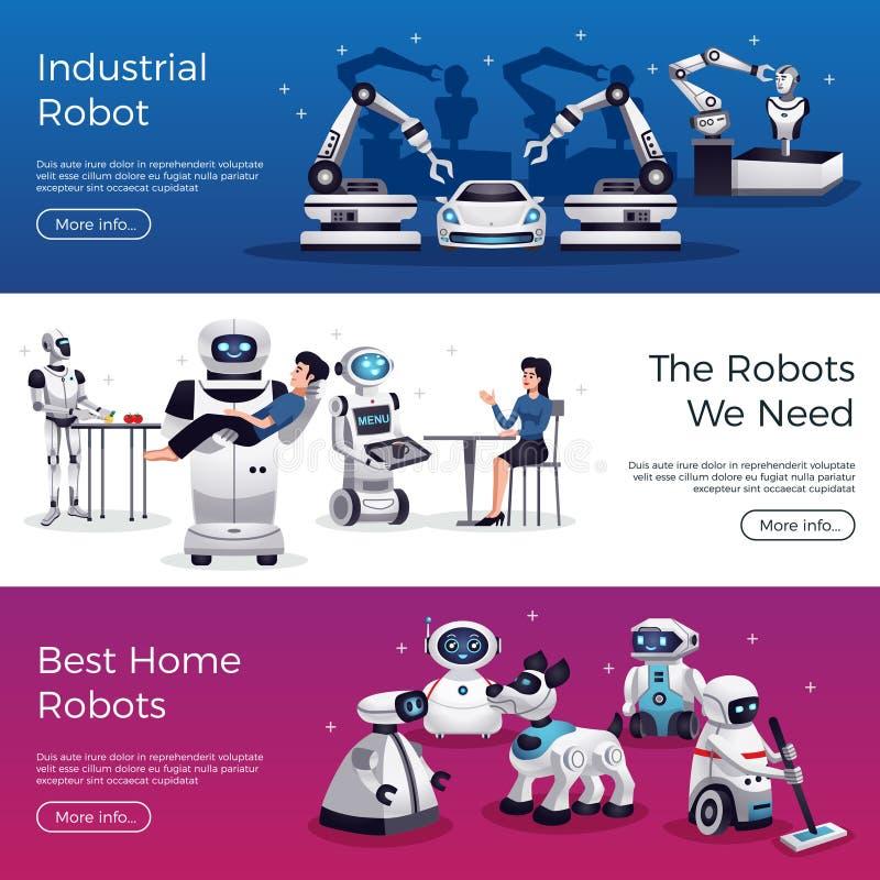 Banderas horizontales de los robots stock de ilustración
