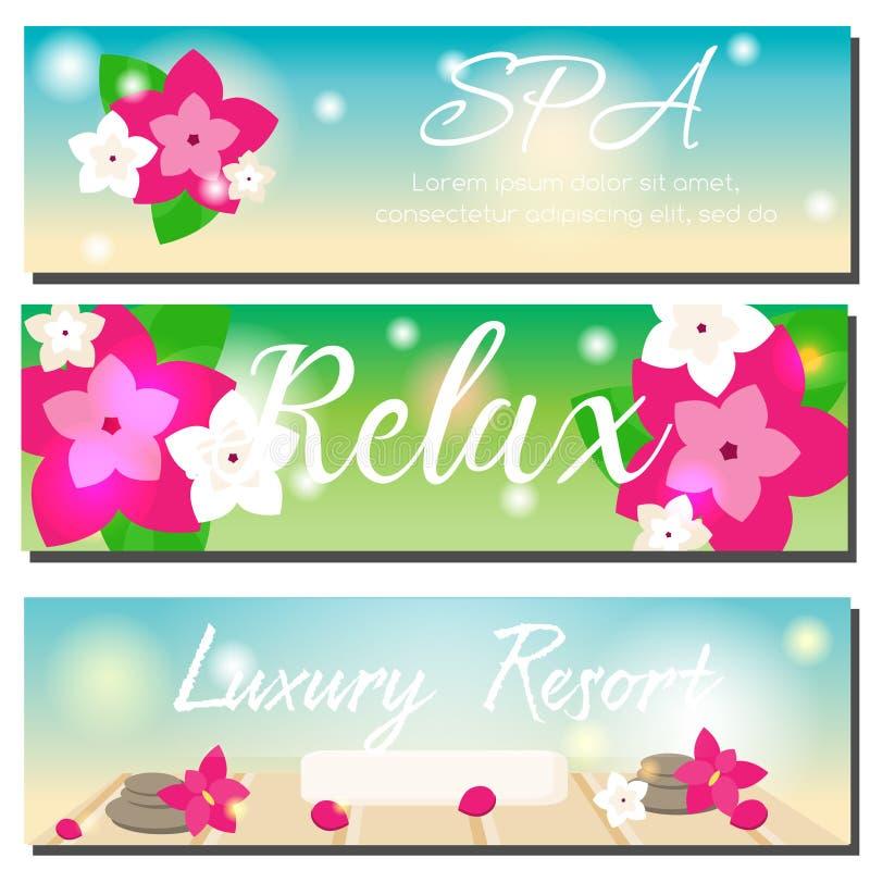 Banderas horizontales del BALNEARIO Salón de belleza, publicidad del centro turístico del hotel de lujo stock de ilustración
