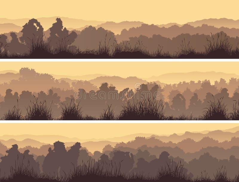 Banderas horizontales del bosque de hojas caducas stock de ilustración