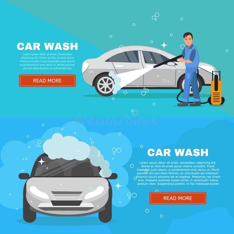 Banderas horizontales del concepto del coche que se lavan fijadas ilustración del vector