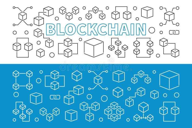 Banderas horizontales del esquema del vector de la nueva tecnología de Blockchain libre illustration