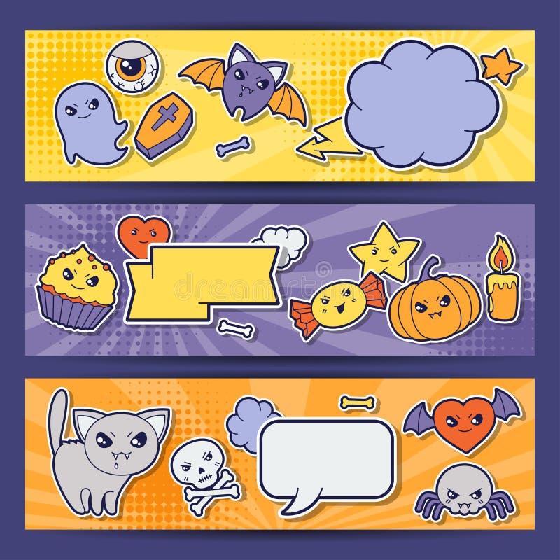 Banderas horizontales del kawaii de Halloween con lindo stock de ilustración