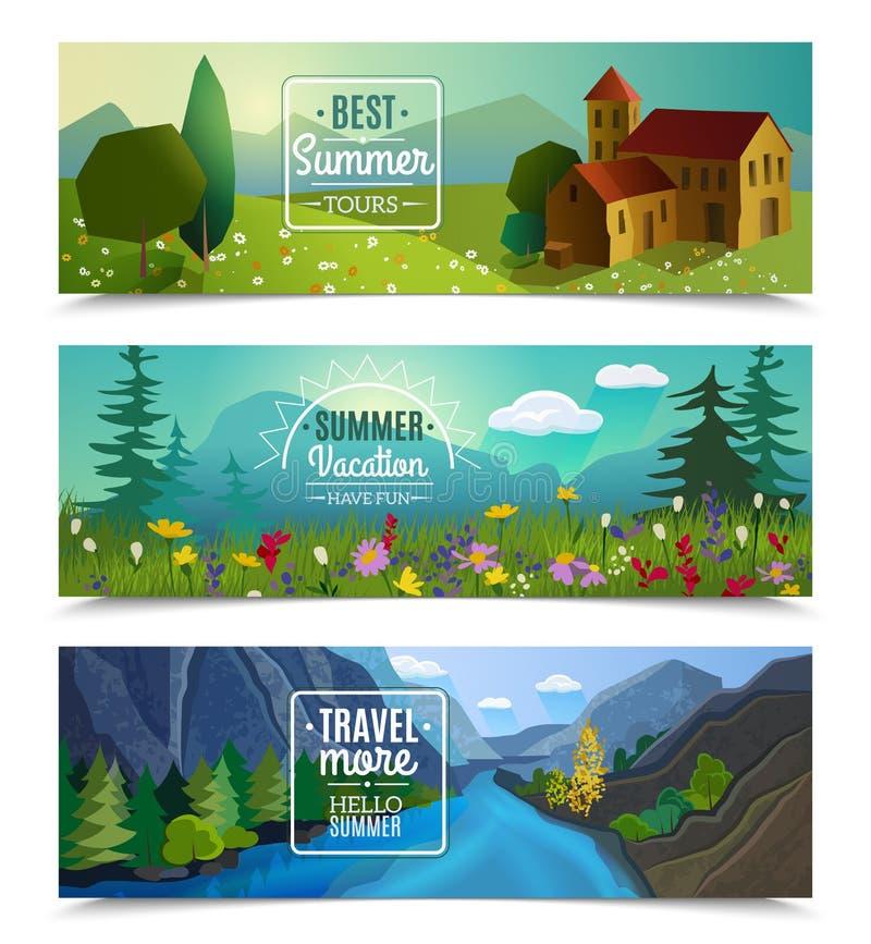 Banderas horizontales del paisaje del verano fijadas ilustración del vector