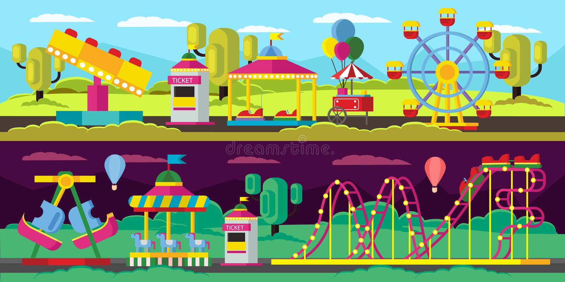 Banderas horizontales del parque de atracciones stock de ilustración