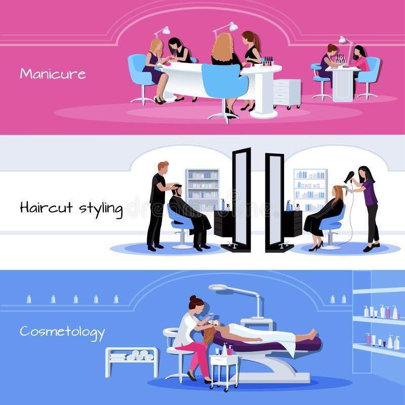 Banderas horizontales del servicio del salón de belleza stock de ilustración