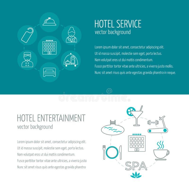 Banderas horizontales del servicio y del entretenimiento de hotel Los iconos en el diseño plano con la muestra mandan un SMS Vect stock de ilustración