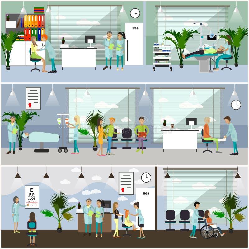 Banderas horizontales del vector con los doctores y los interiores del hospital Concepto de la medicina Pacientes que pasan el co stock de ilustración