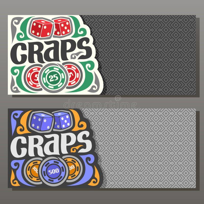 Banderas horizontales del vector para el juego de las mierdas stock de ilustración