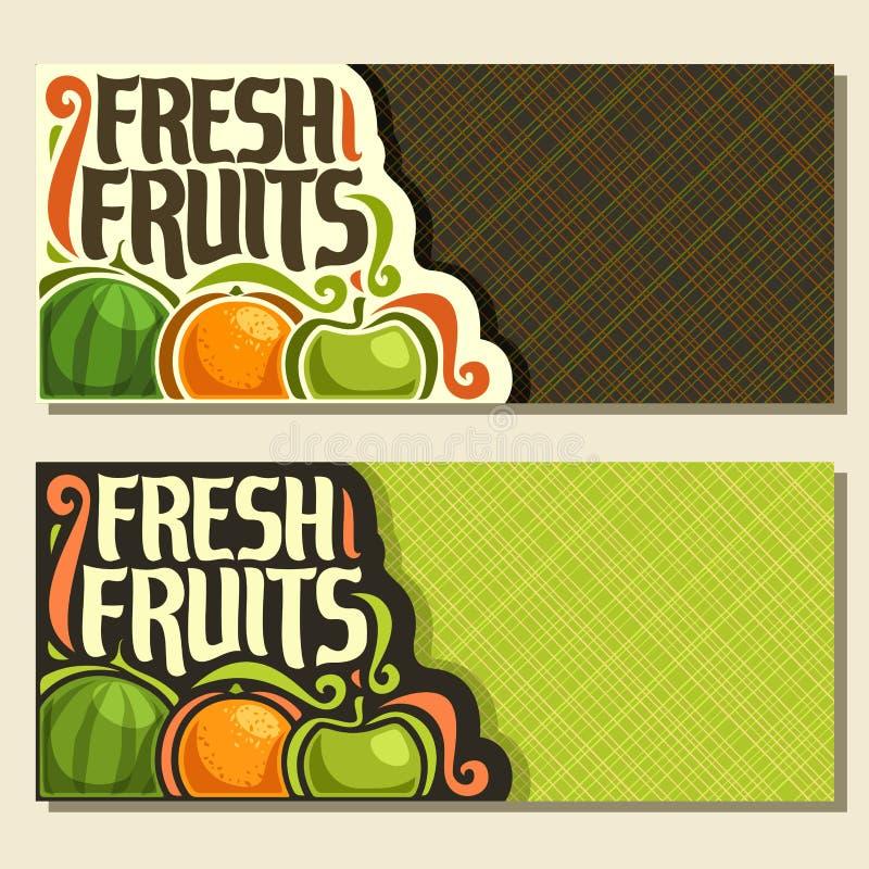 Banderas horizontales del vector para las frutas frescas del sistema libre illustration