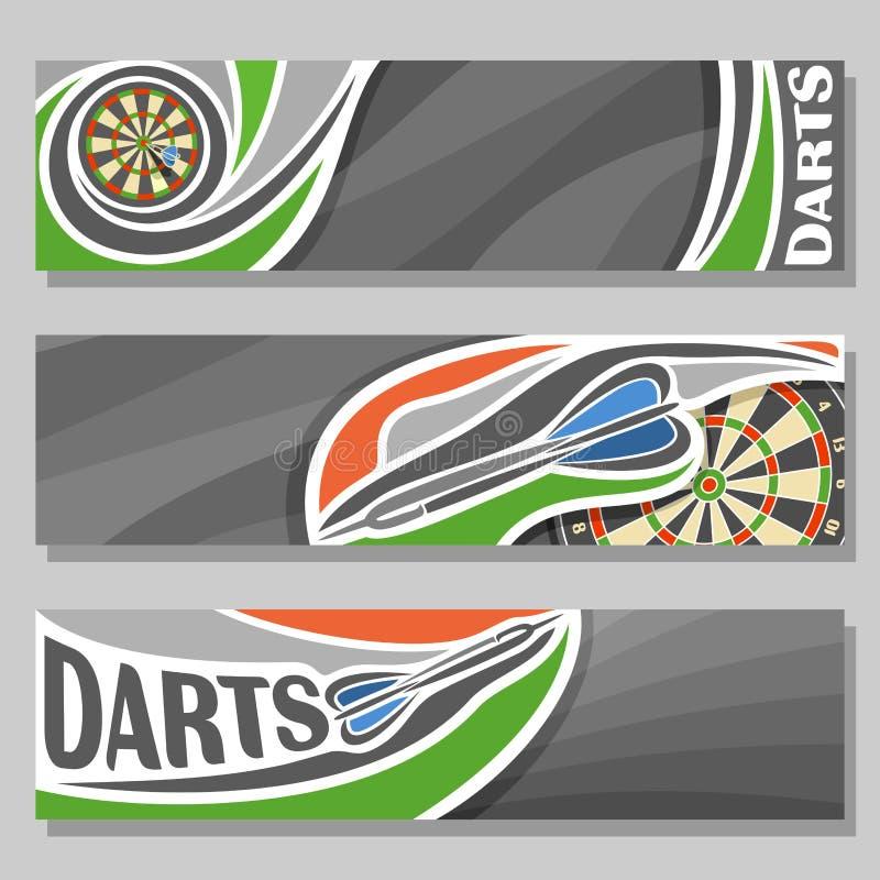 Banderas horizontales del vector para los dardos stock de ilustración