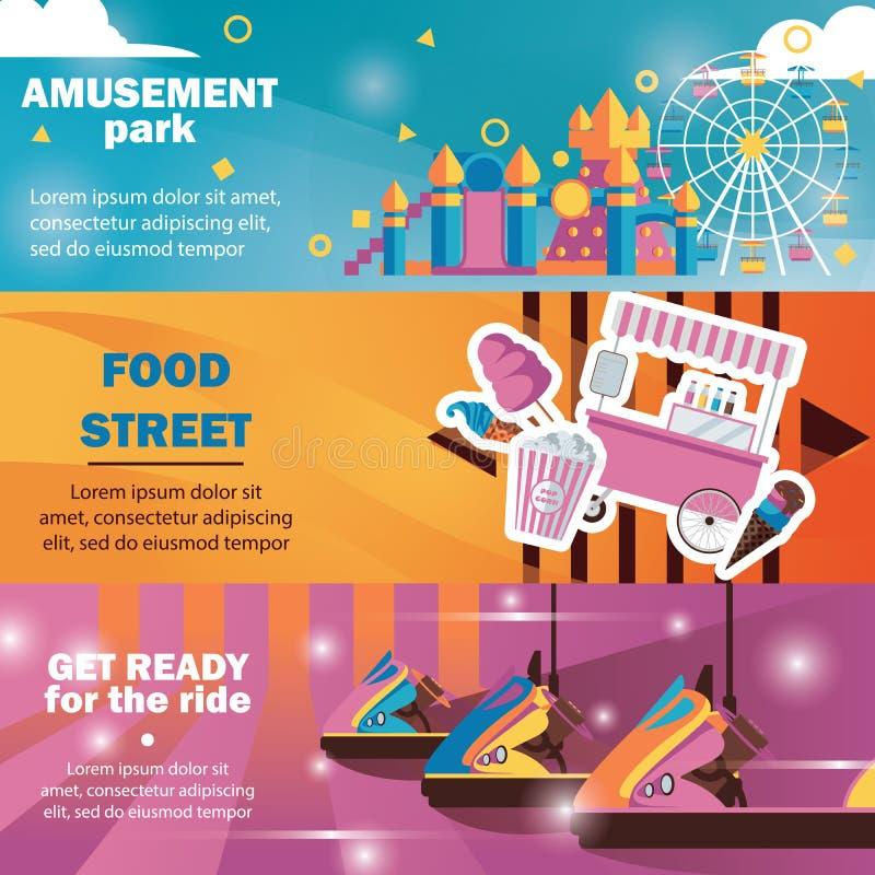 Banderas horizontales para el parque de atracciones con los carruseles, camión de la comida en colores brillantes ilustración del vector