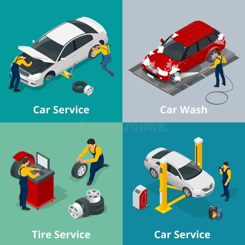 Banderas horizontales planas con los trabajadores de las escenas en la reparación del centro de servicio de reparación del coche, ilustración del vector