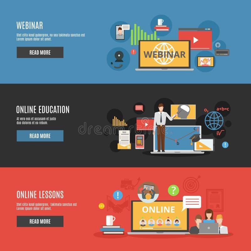 Banderas horizontales planas de la educación en línea ilustración del vector