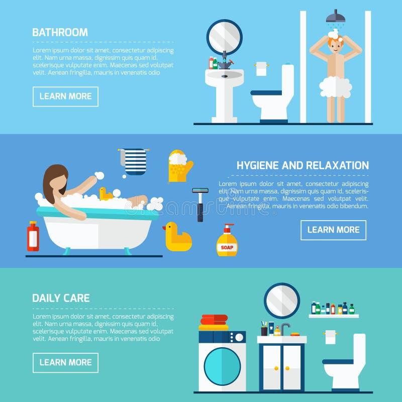 Banderas horizontales planas de la higiene personal fijadas ilustración del vector