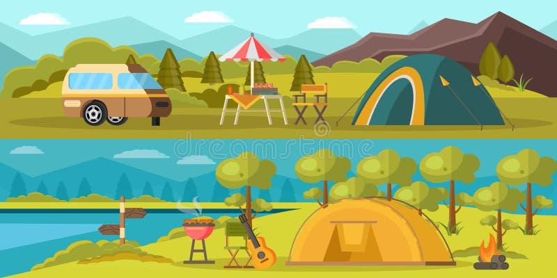 Banderas horizontales que acampan coloridas ilustración del vector