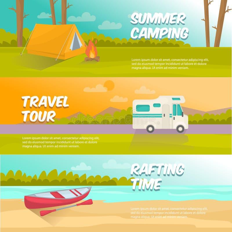 Banderas horizontales que acampan del verano fijadas ilustración del vector