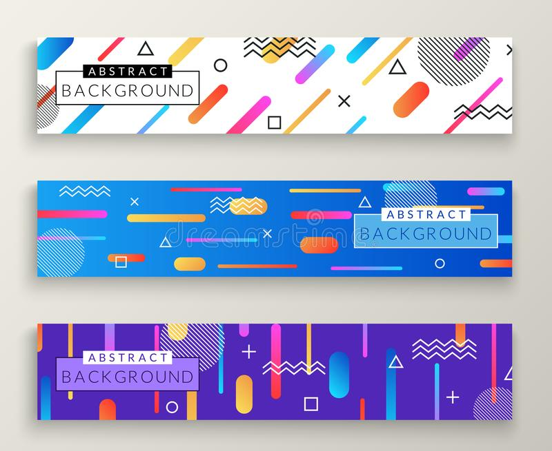 Banderas horizontales retras del estilo abstracto de Memphis con formas y el marco geométricos simples multicolores del espacio d stock de ilustración
