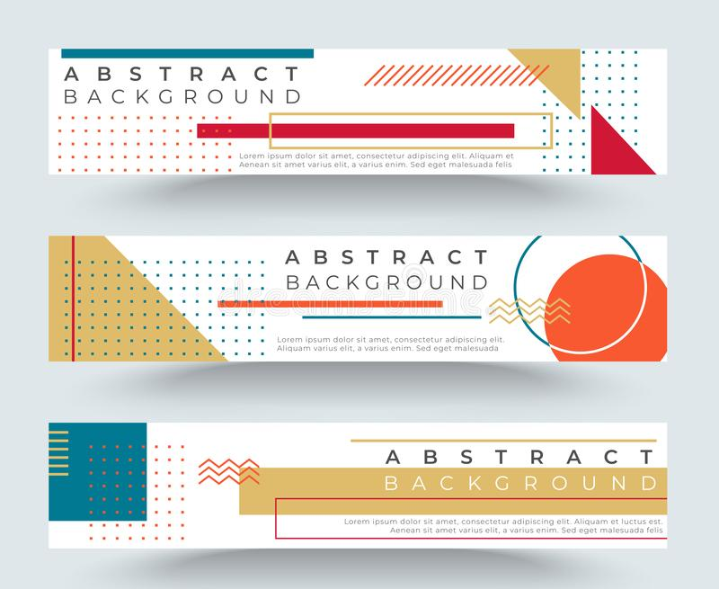 Banderas horizontales retras del extracto con formas geométricas simples multicoloras Tri?ngulos, c?rculos, l?neas ilustración del vector